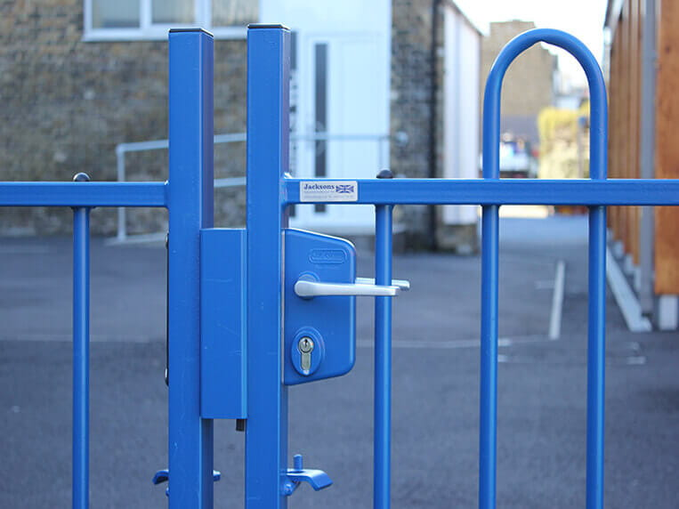 Bow top playground fence gate with key lock