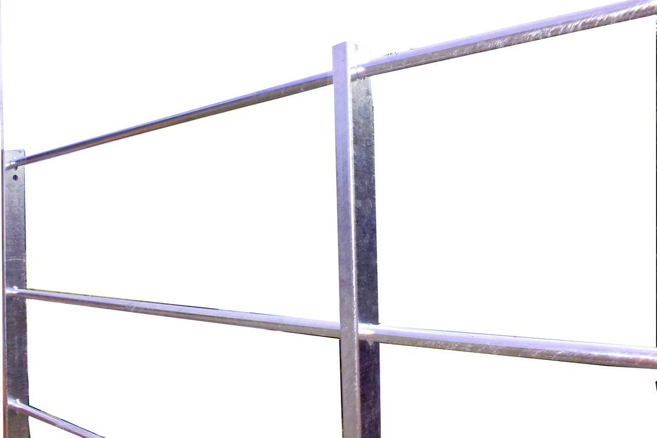 Tubular form estate railings with galvanised finish