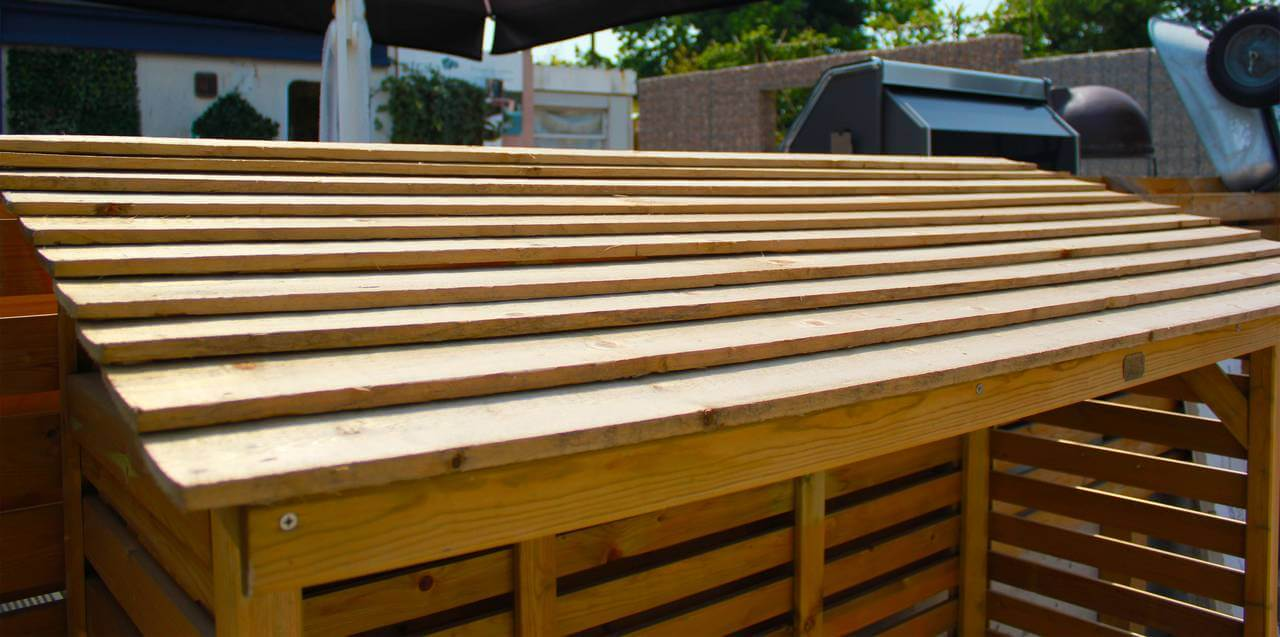 Log store roof to keep timber dry