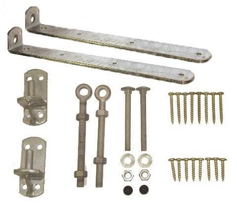 Bent gate hinge set