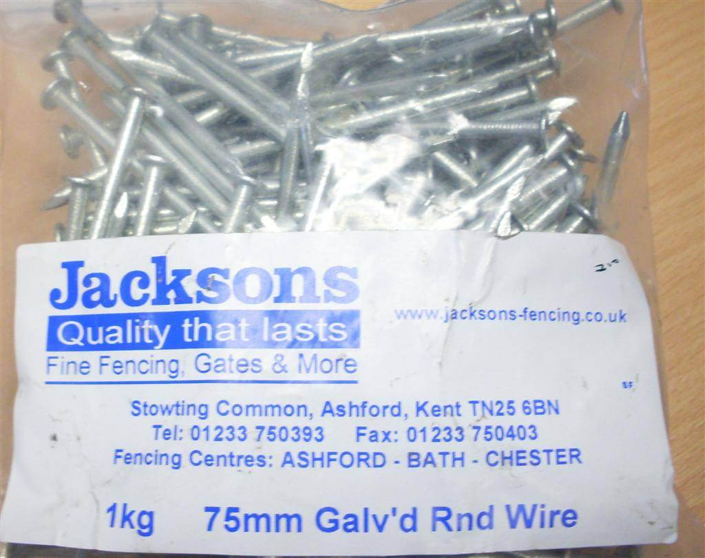 1kg pack 75mm3 nails galvanised round wire 375mm gauge 800210 75mm nails keyboard keysfo Gallery