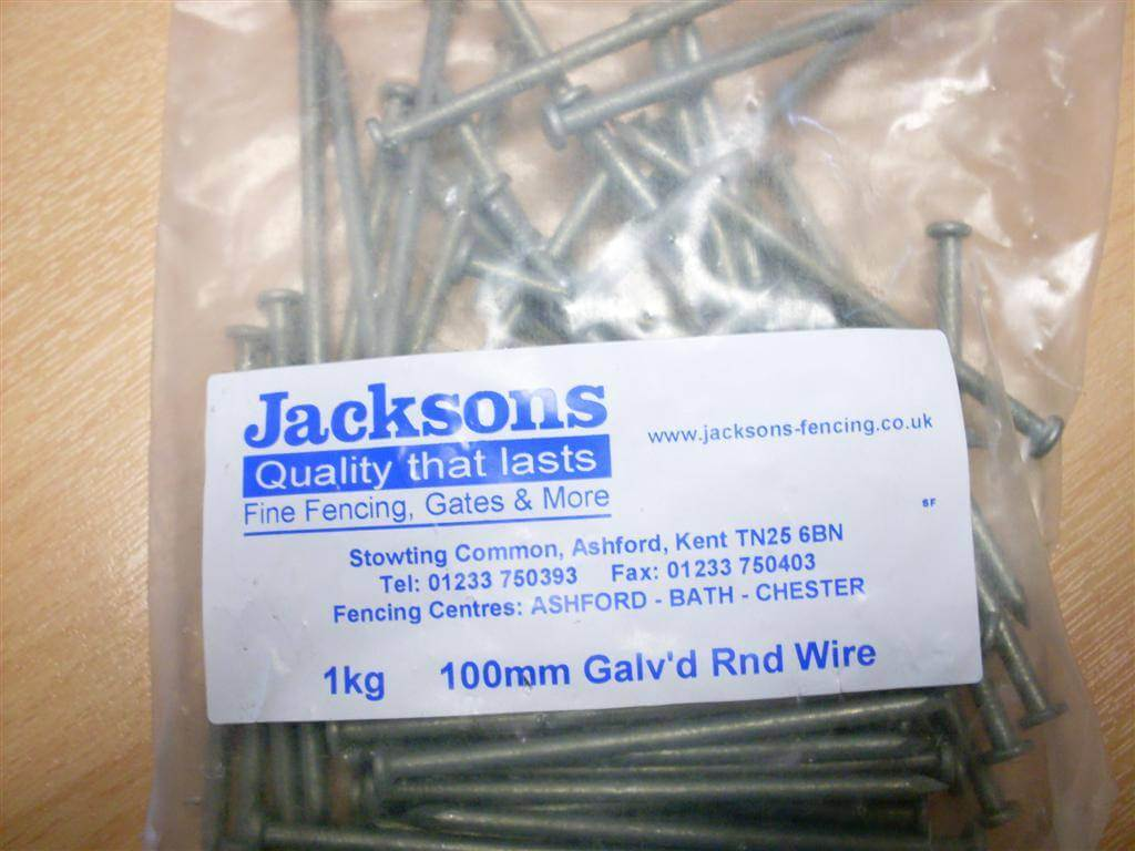 1kg pack 100mm nails galvanised round wire 450mm gauge jacksons 800310 100mm nails greentooth Images