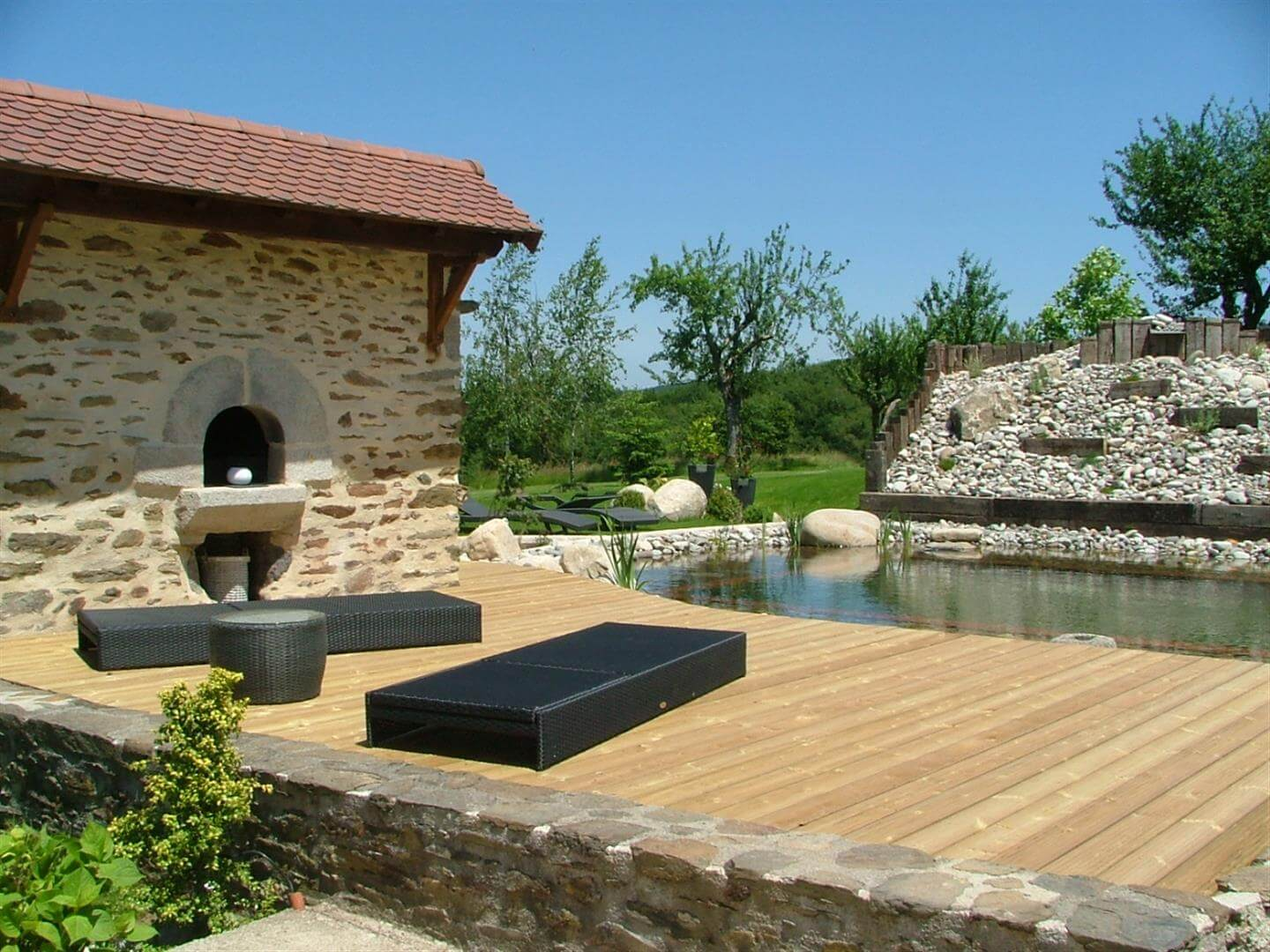 Decking and natural swimming pool