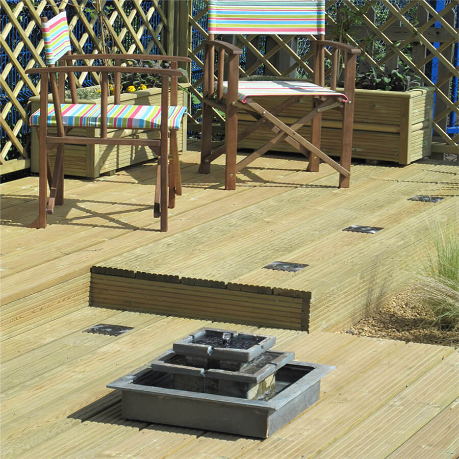 Raised areas of Decking