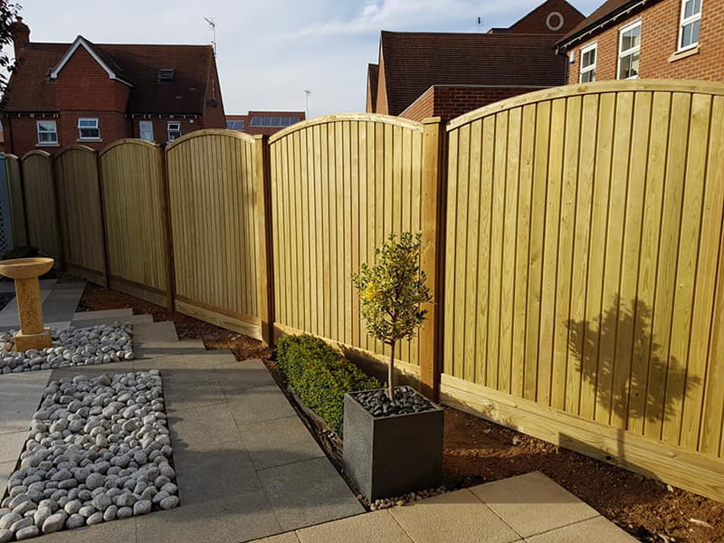 Curved tongue and groove fence panel 1