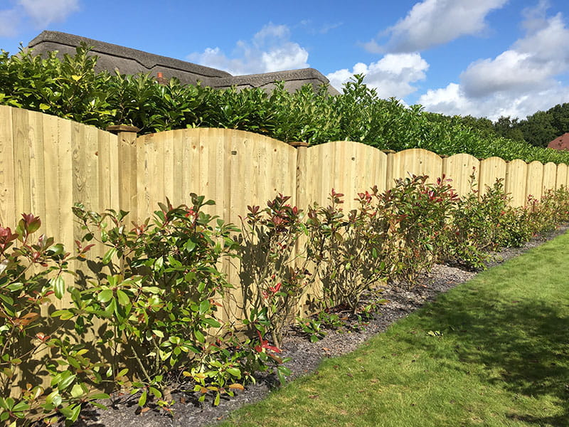 Convex curved featherboard fence panel