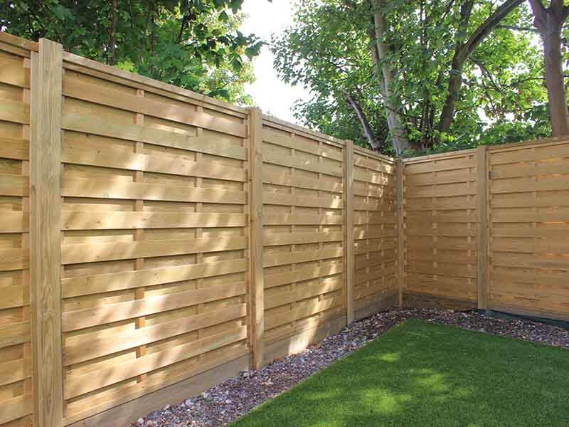 Horizontal Hit and Miss fence panels sunlight