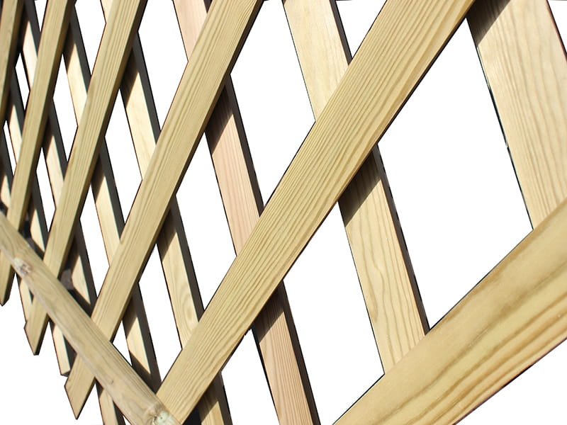 Criss cross timber garden fencing