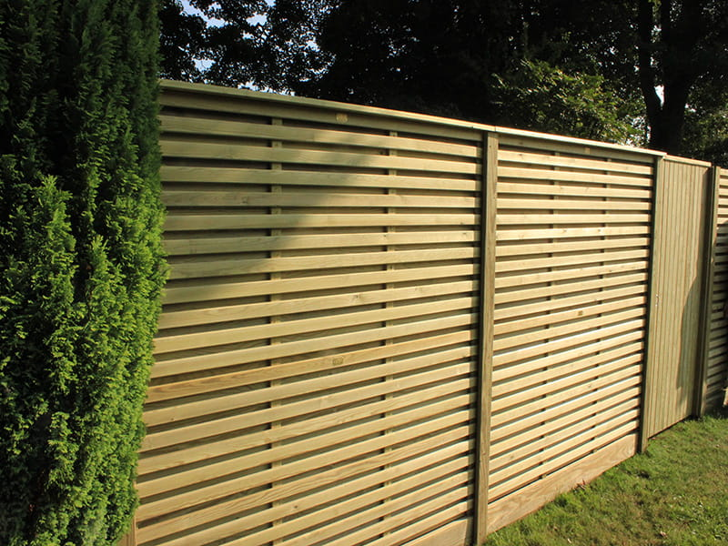 Contemporary slatted style garden fencing panels