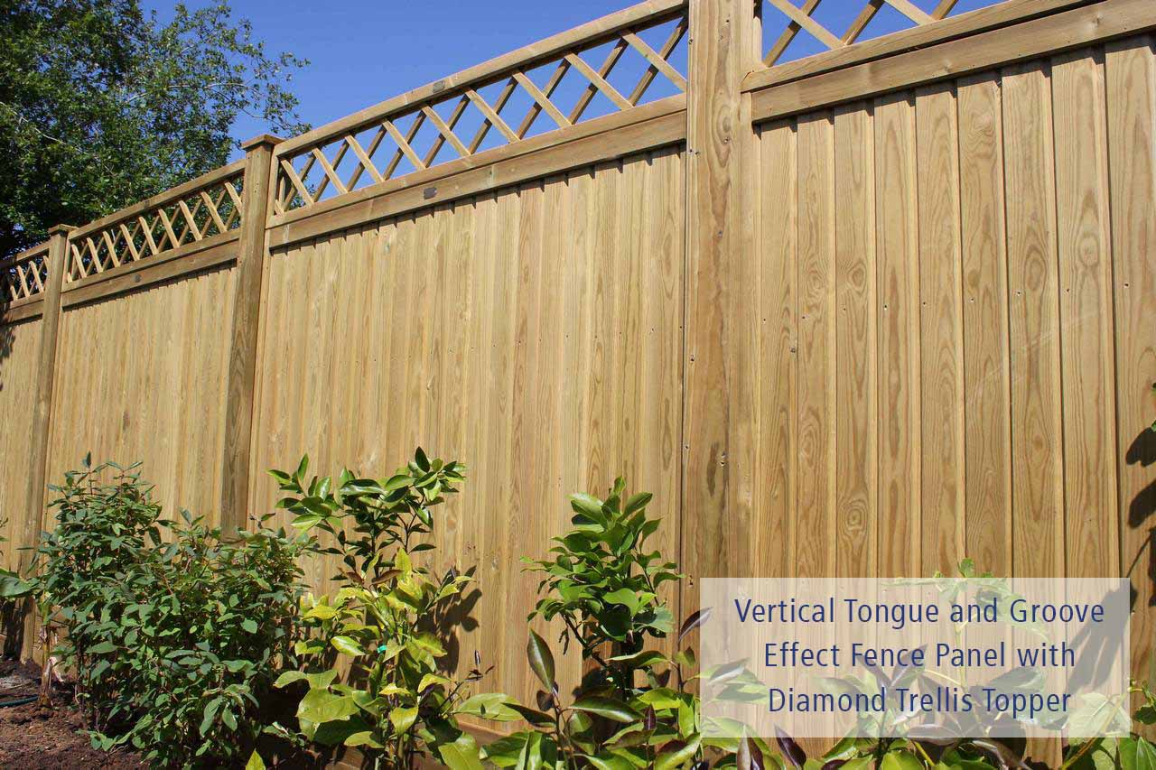 vertical tongue and groove with diamond trellis