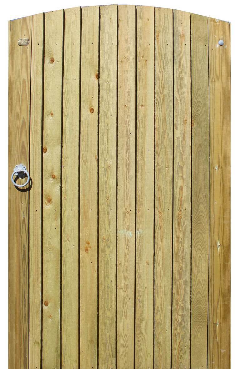 Featherboard arched garden gate
