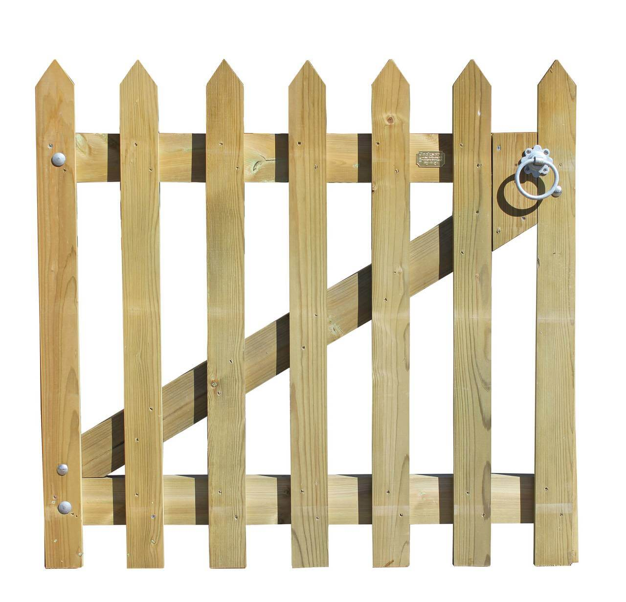 Pointed timber palisade gate
