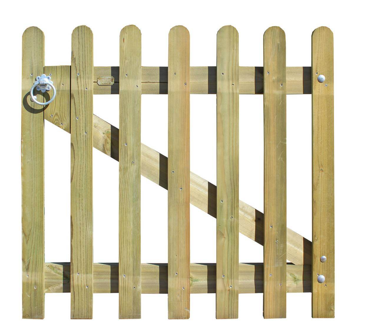 Rounded timber palisade garden gate