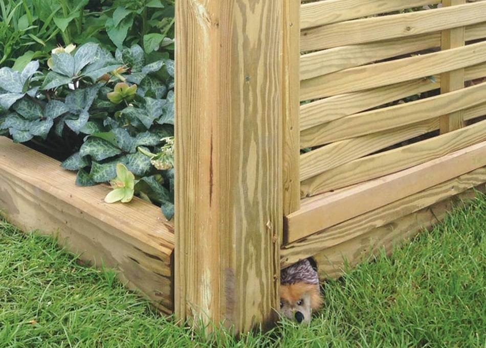 hedgehog gravel board with woven fence panels