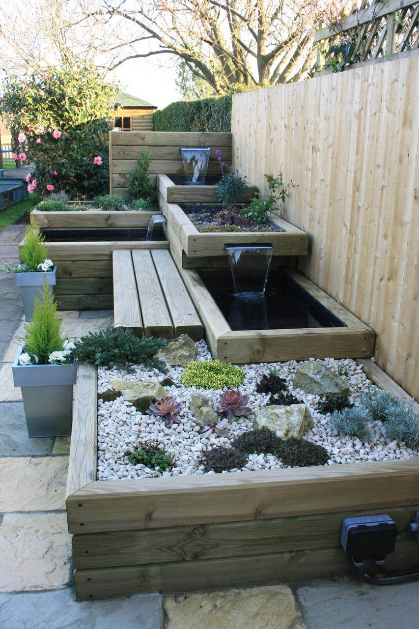 garden with water features finished