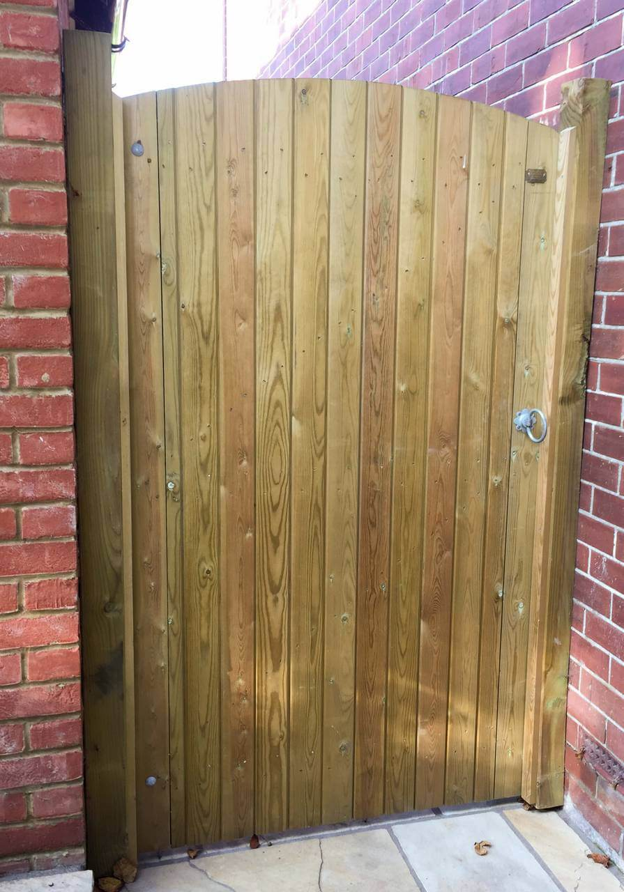 Boarded Garden Gate installed with wall plates