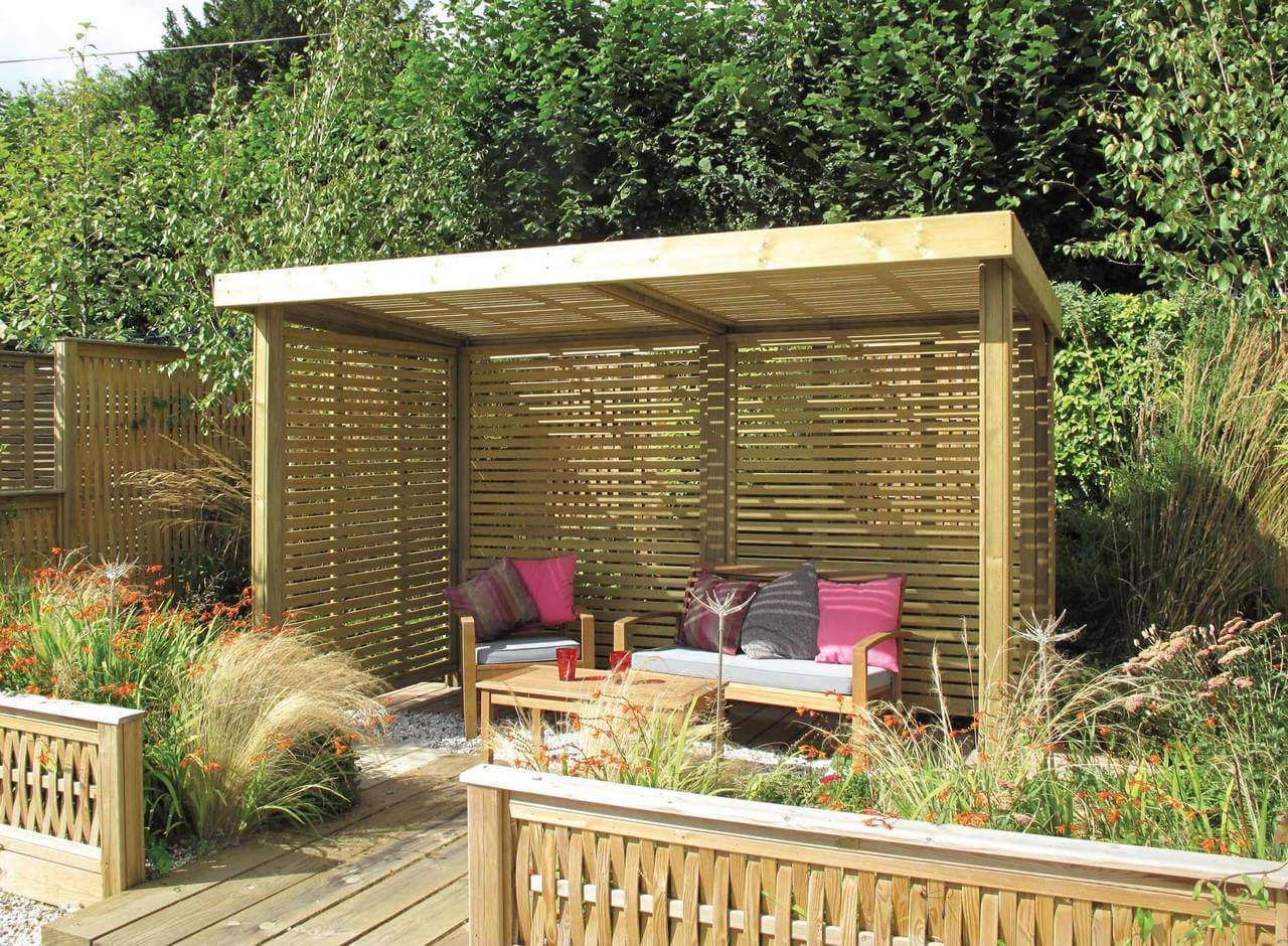 Retreat garden shelter jacksons fencing for Flat pack garden decking