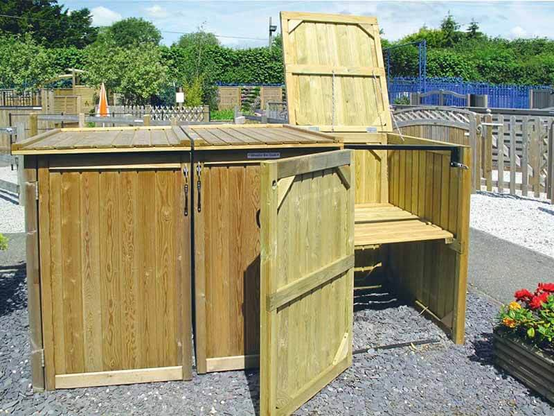 Timber Wheelie Bin Storage Three Bays