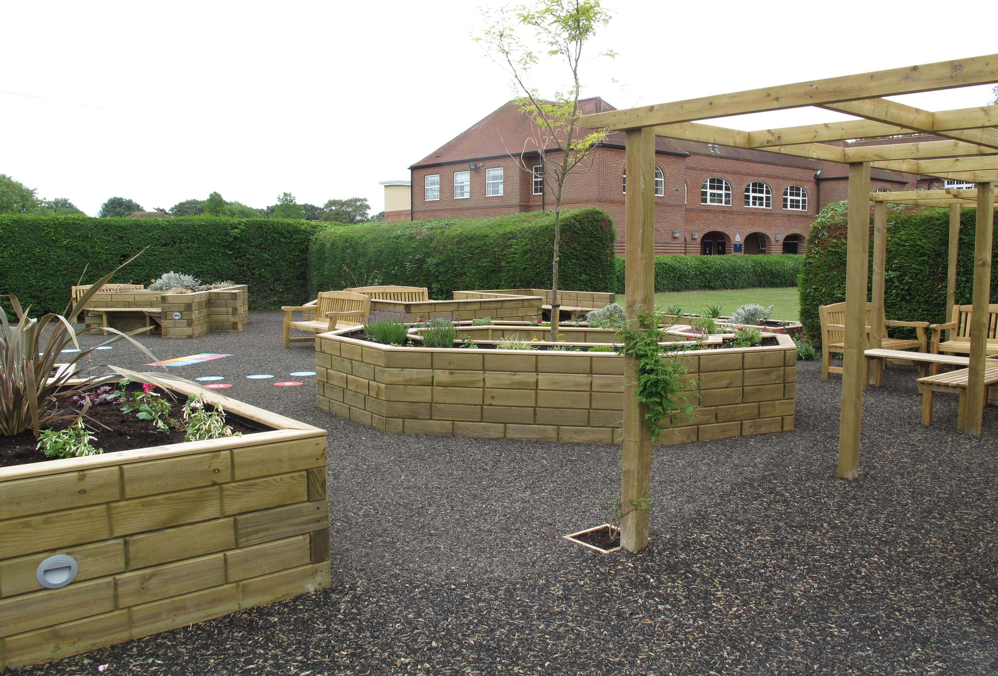 Pergola and Timber Flower Beds