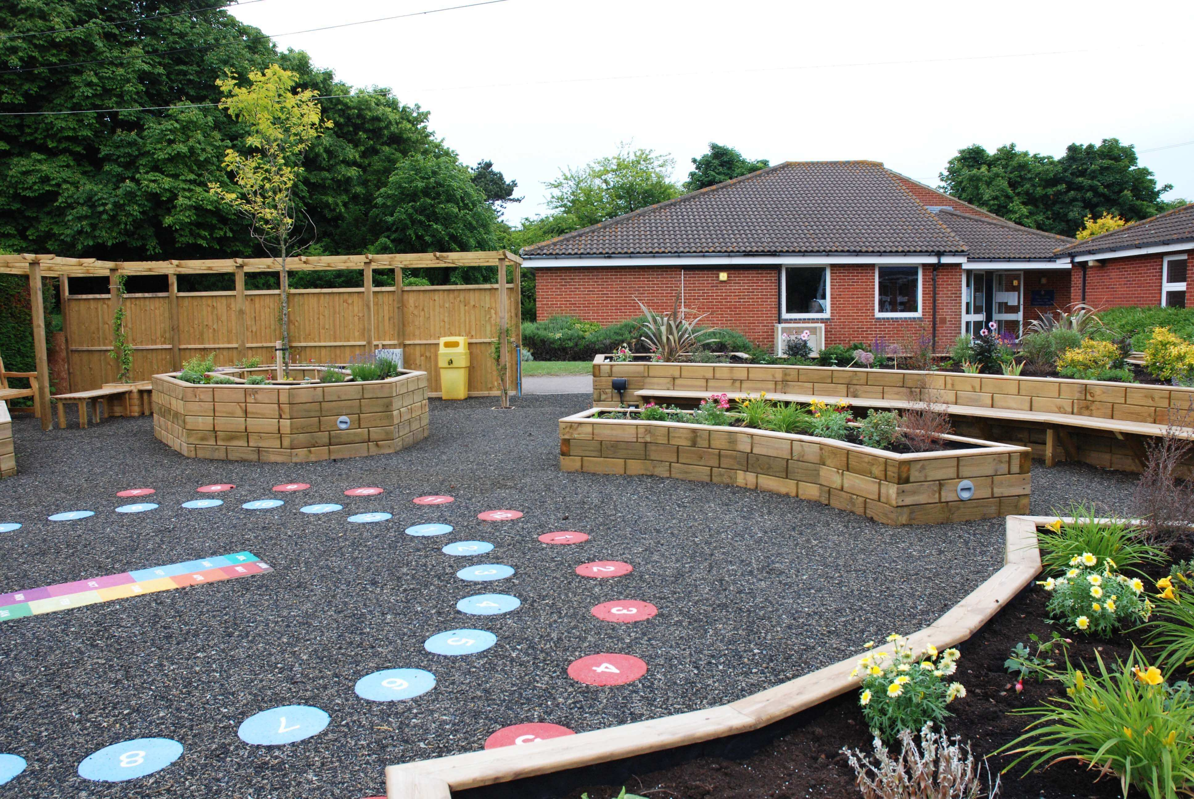 Raised beds and timber pergola