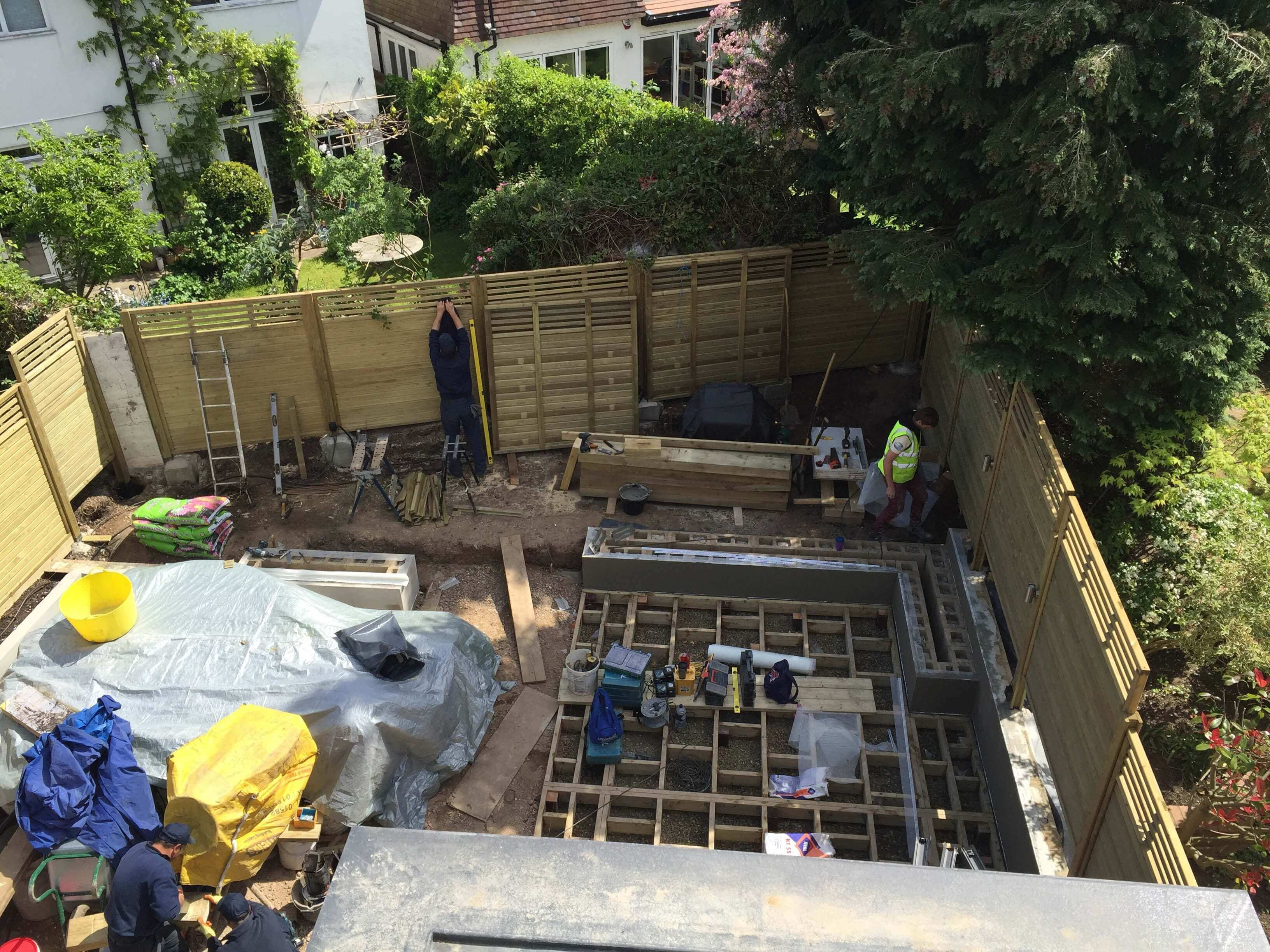 Building works starting in garden