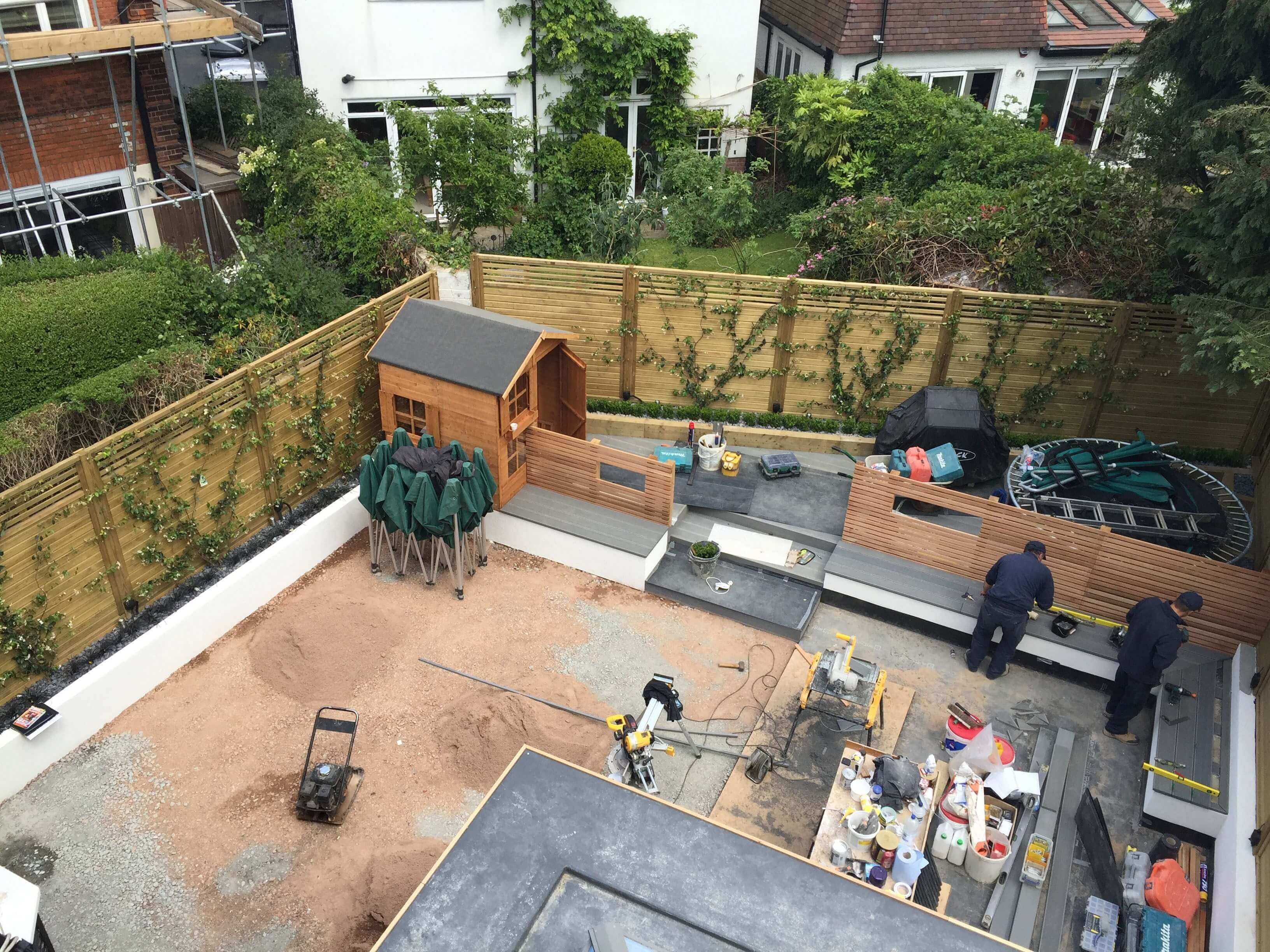 Installing fence panels garden renovation