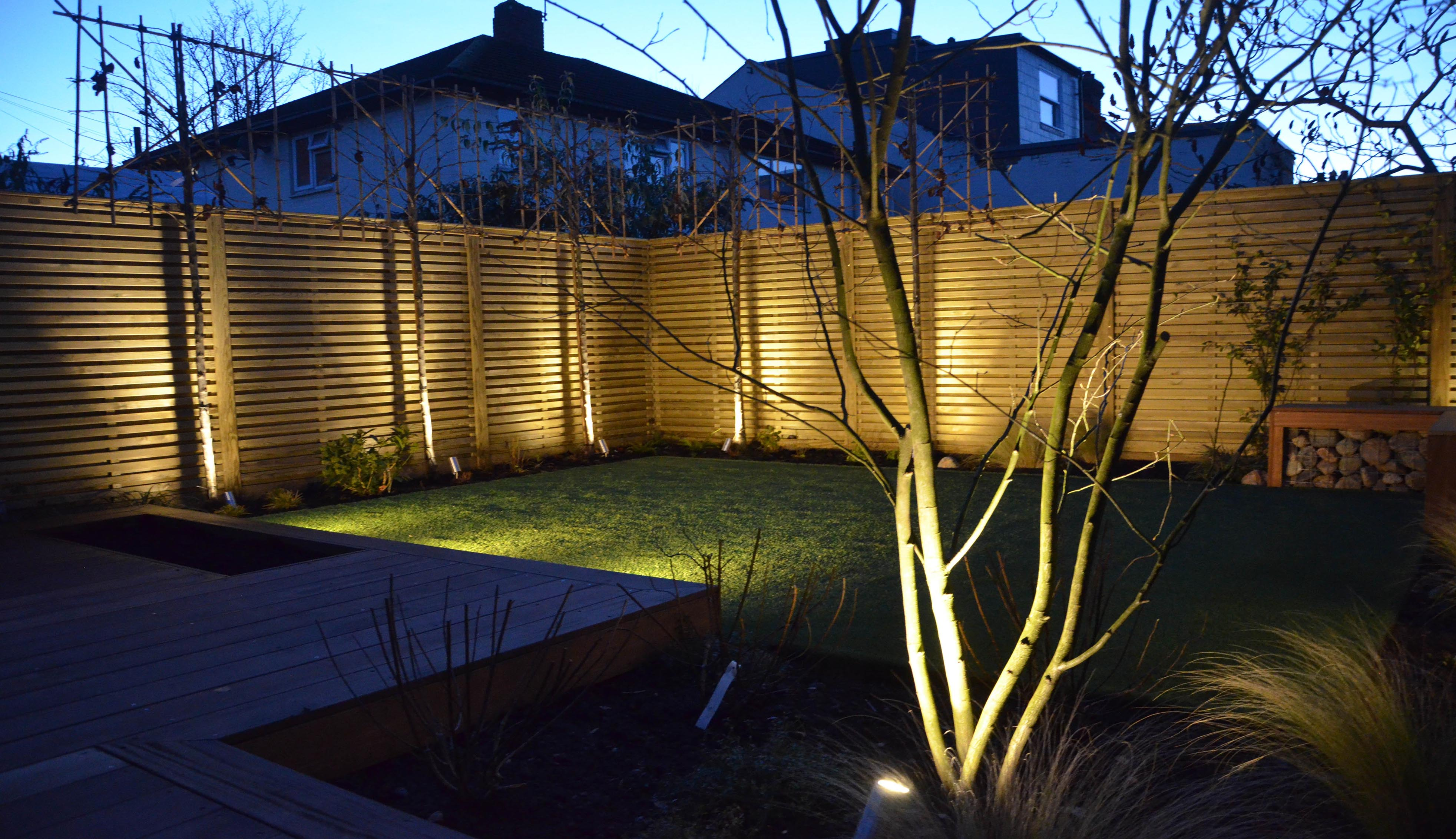 Fence panels with decorative lights