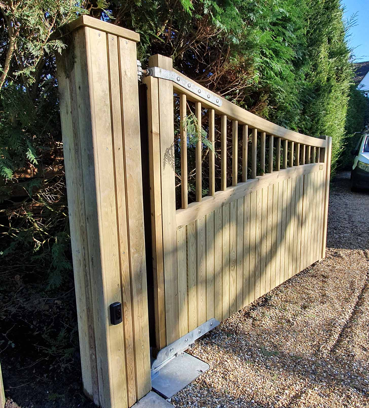 timber clad gate posts