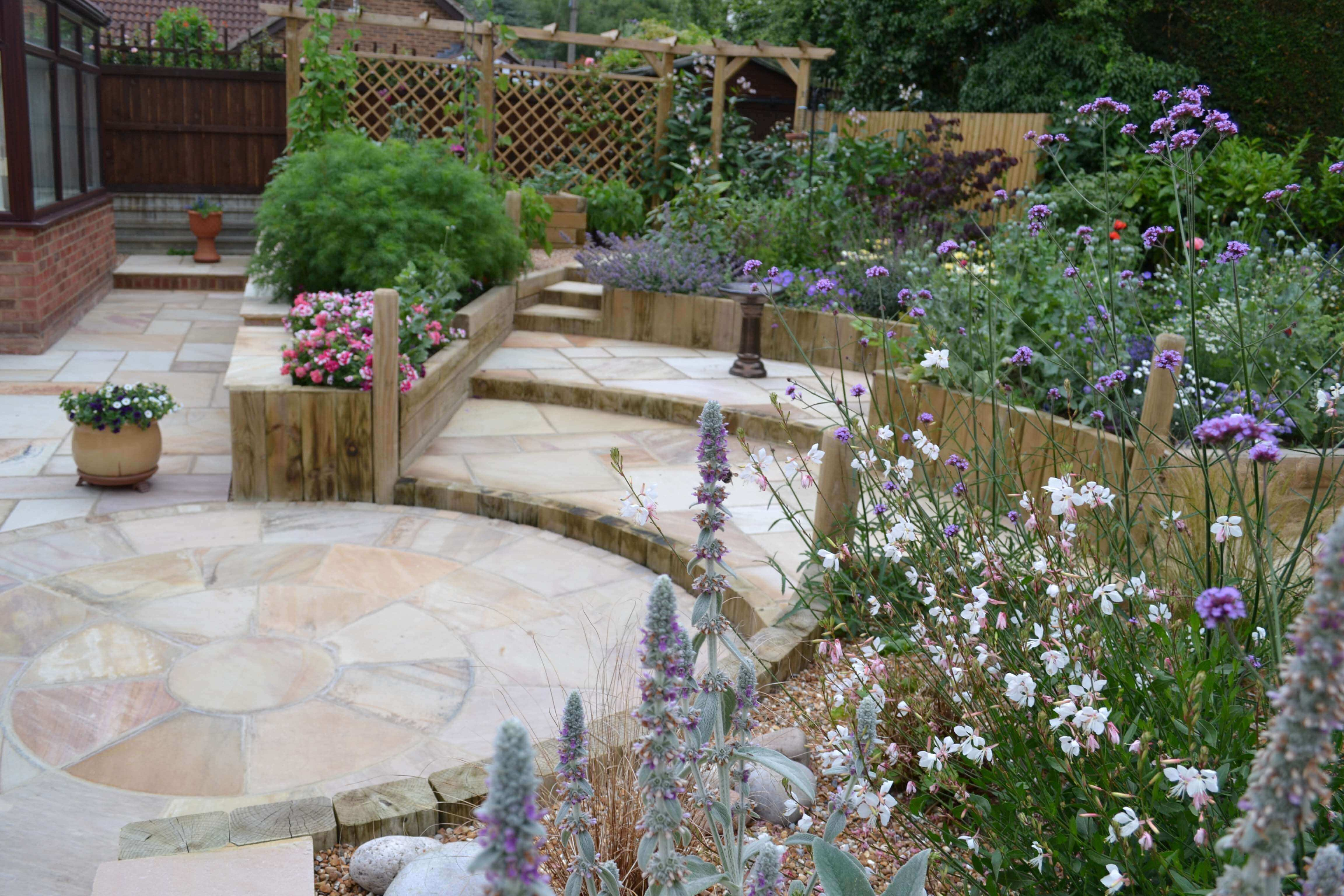 Circular paving surrounded by raised beds