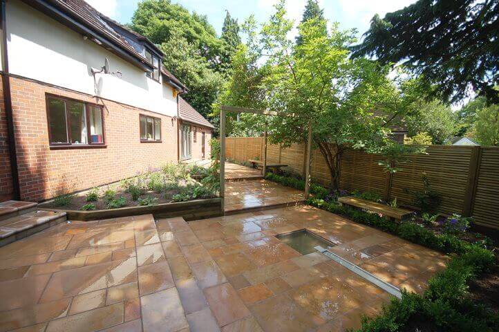 Overview of Garden with new patio and fence