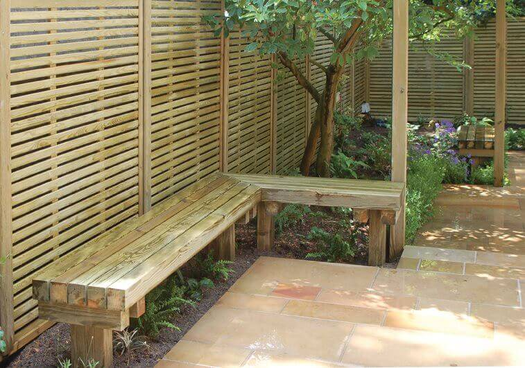 Venetian Fence Panels and Timber Bench Seat