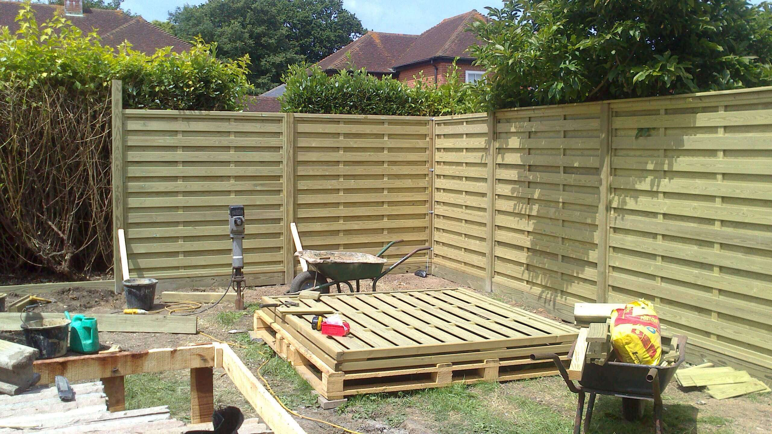 Installation of the new fence panels
