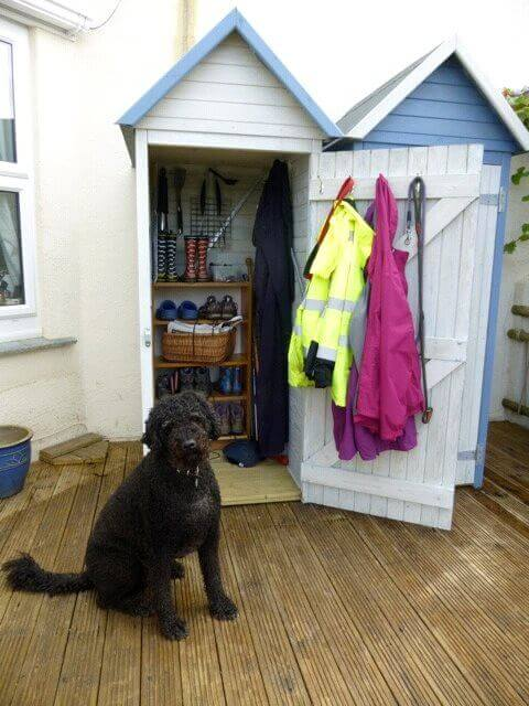 Dougal and the new beach huts tool sheds