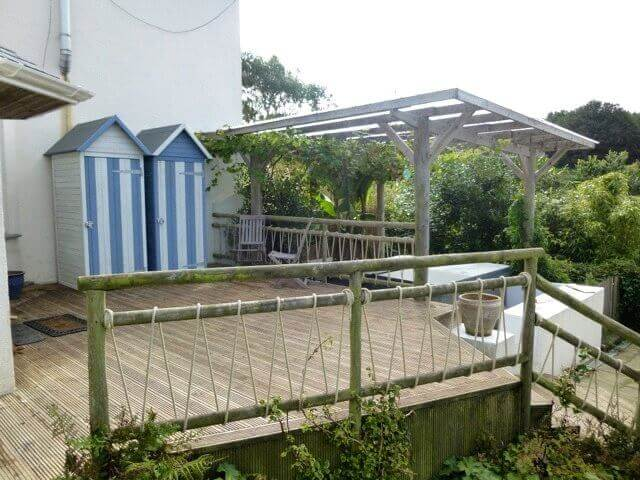 pergola decking and huts