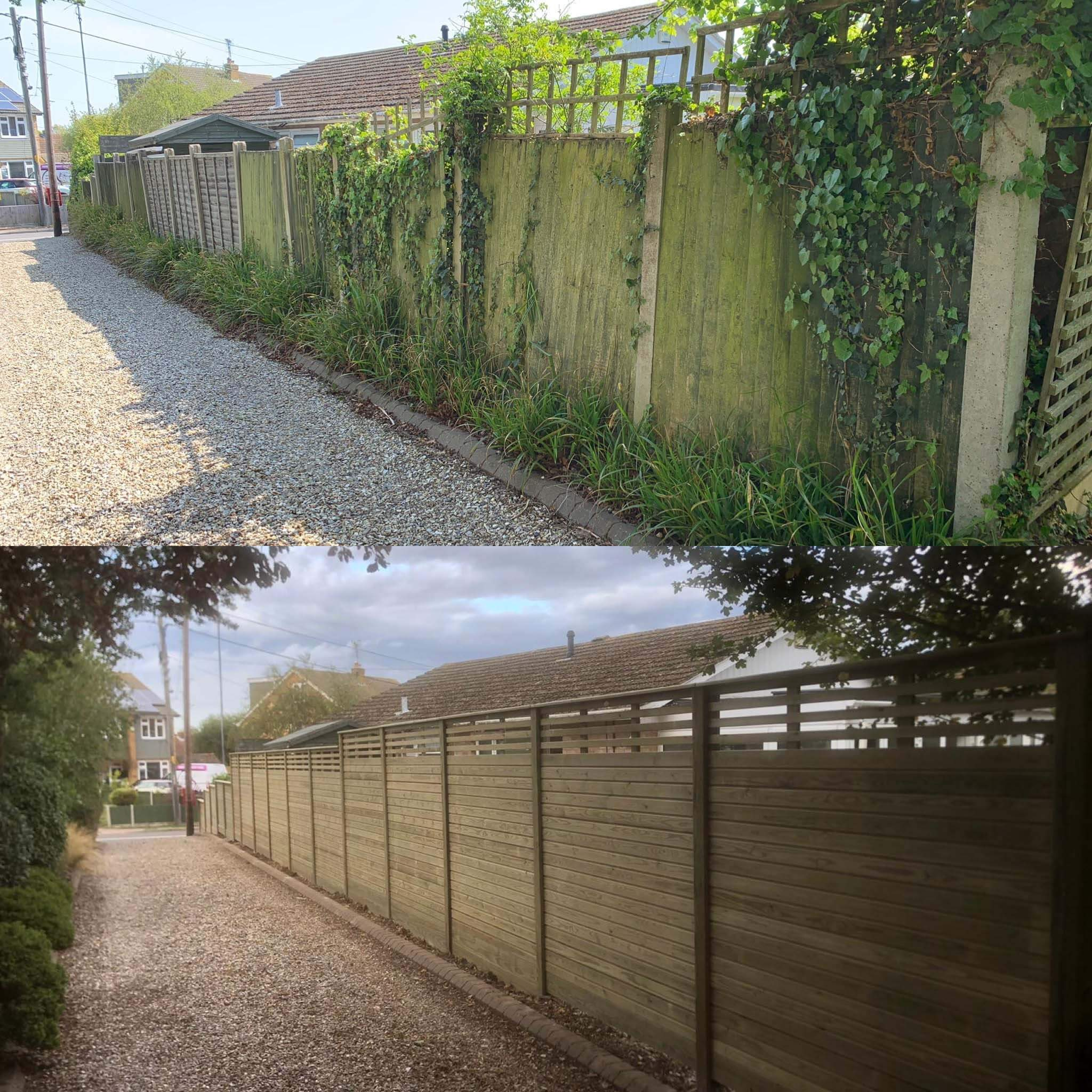 before and after new garden fence