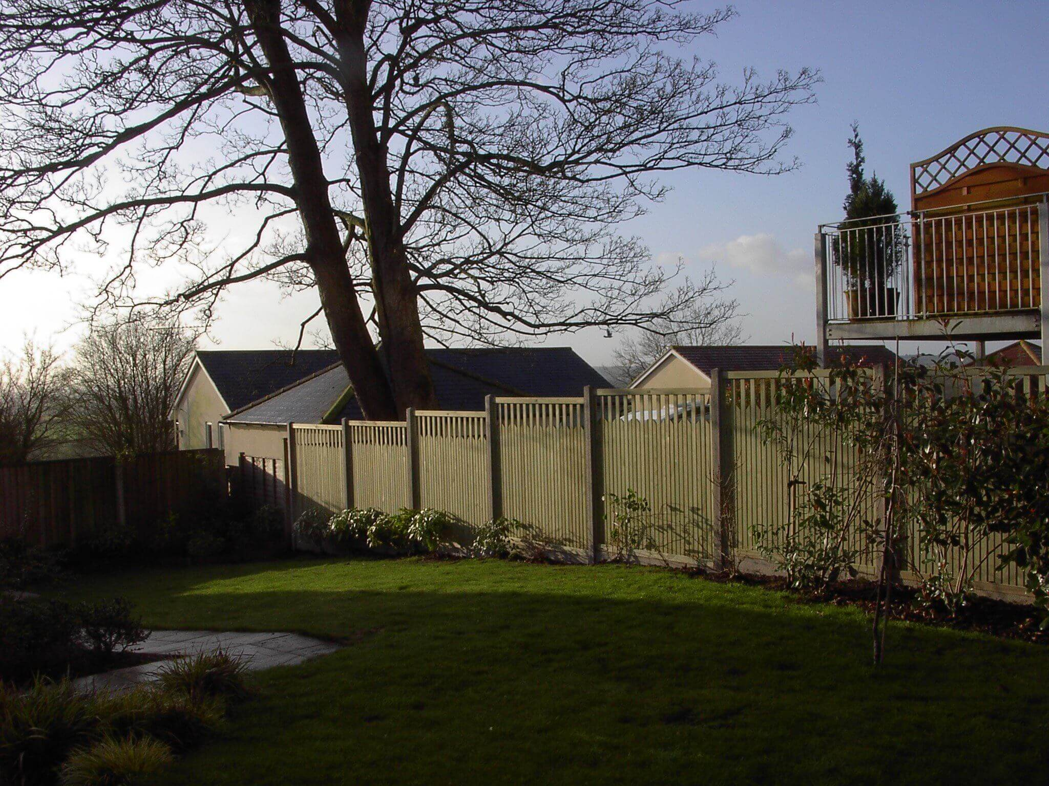 Paliframe fence panels with concrete posts