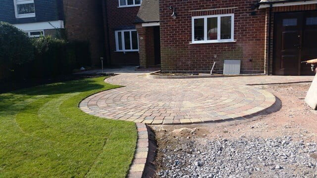 Work progressing on the paving driveway
