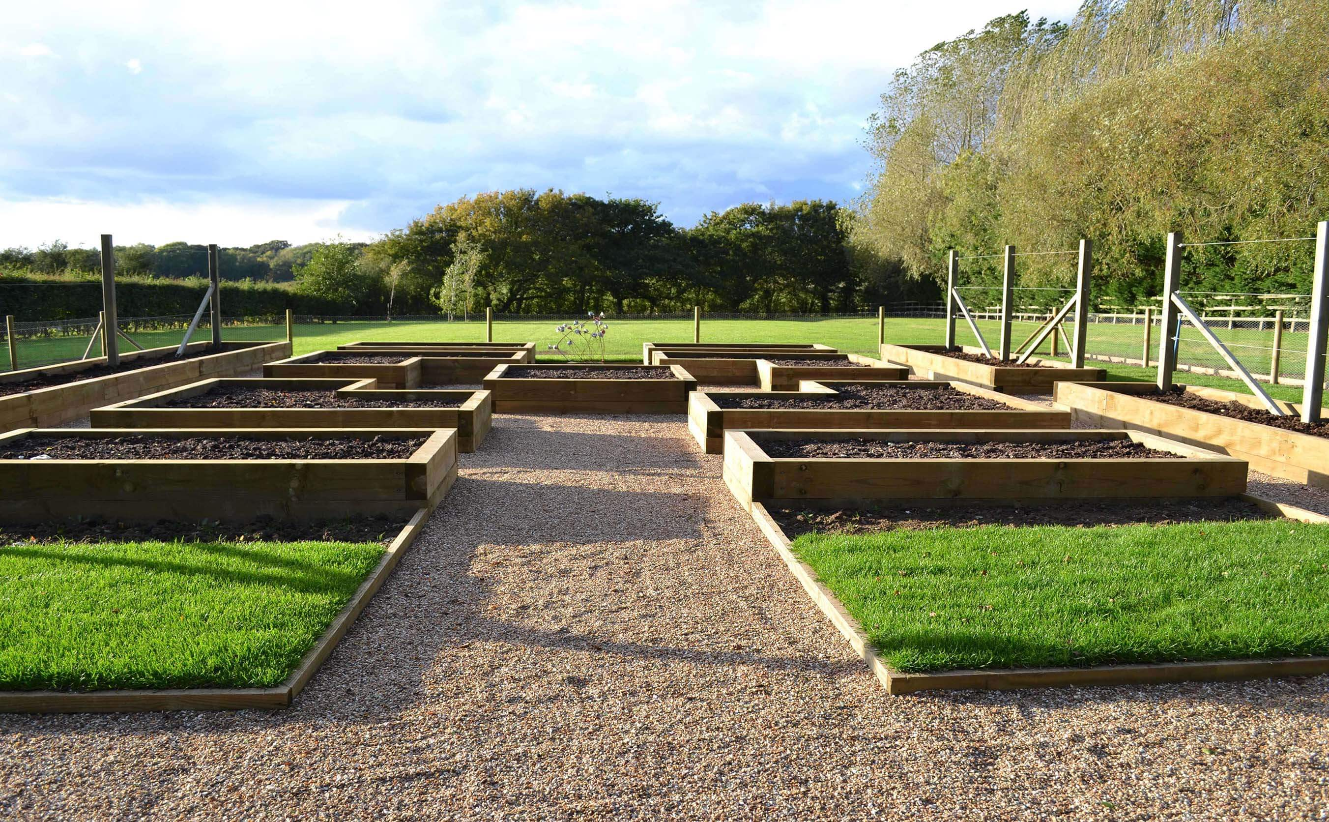 Potager central view showing raised beds created from sleepers