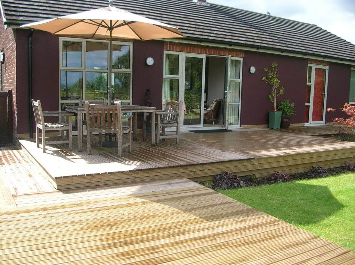 Decking with step into house