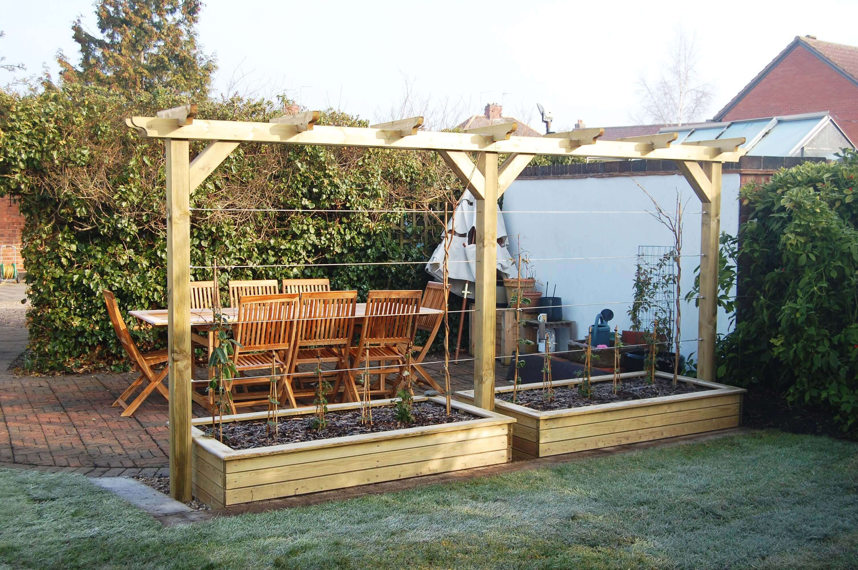 pergola and raised beds long view