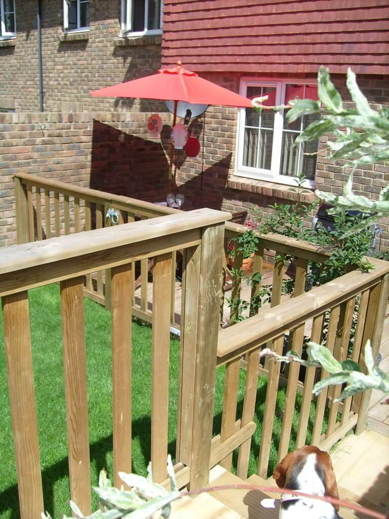 Balustrade leading to garden lawn