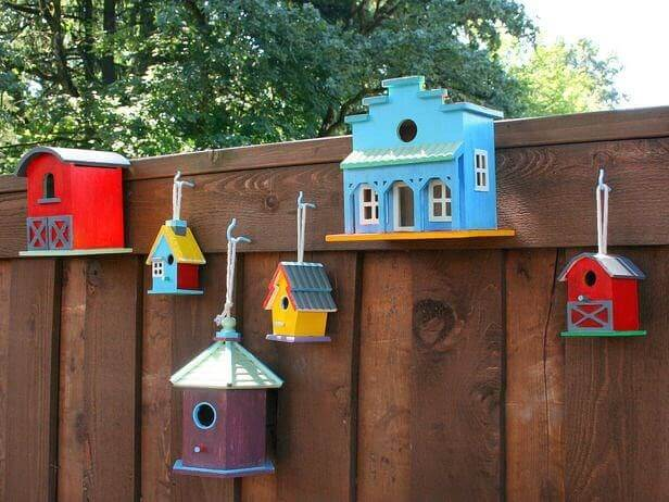 Bird boxes on Hit and Miss style fence