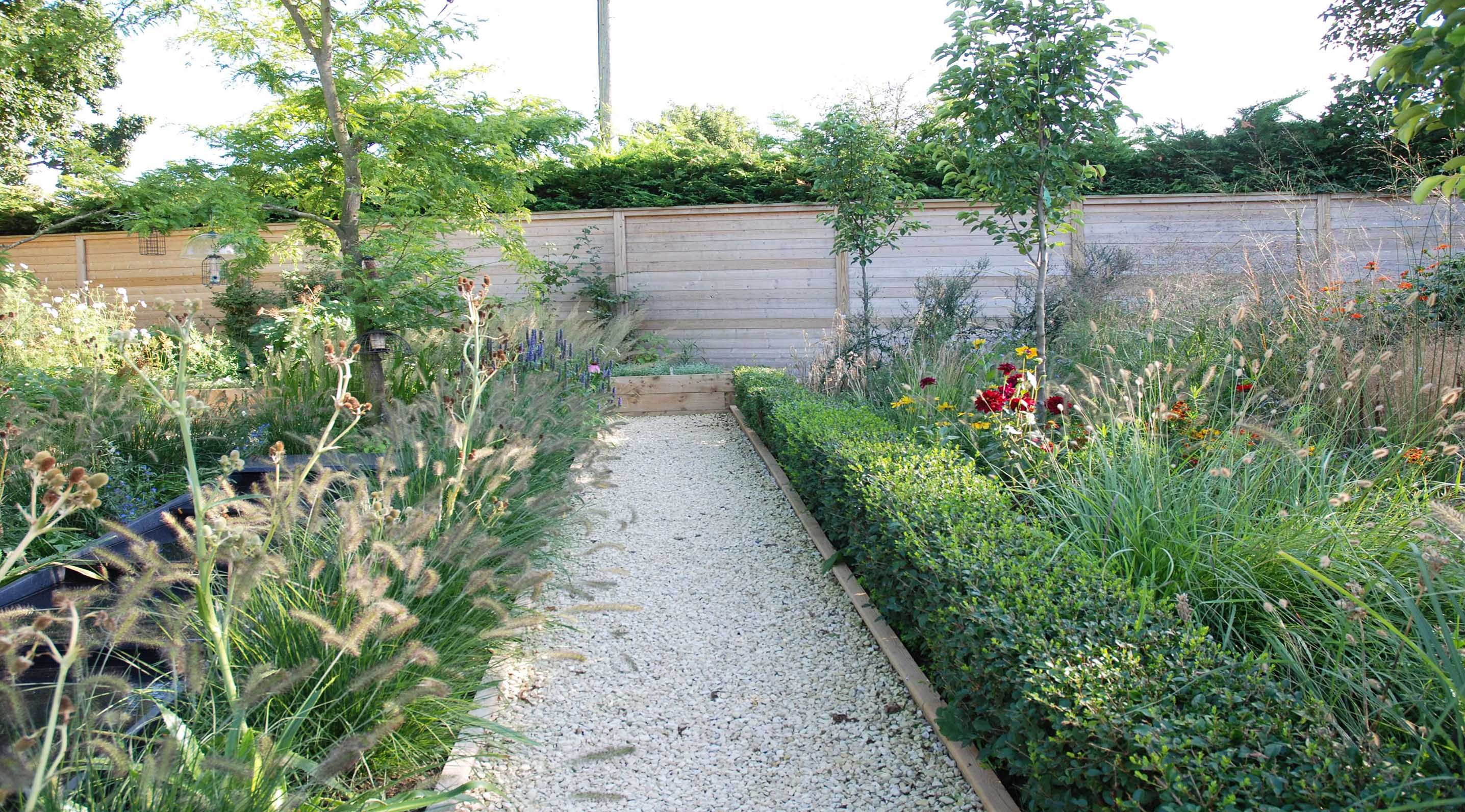 Marks garden with acoustic fencing panel