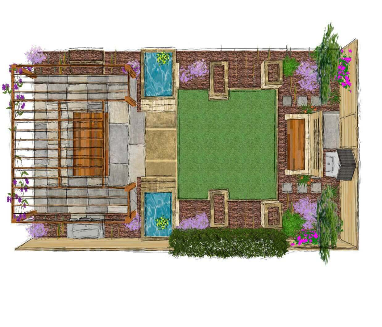 GWL final - coloured and planted - 3D plan 1