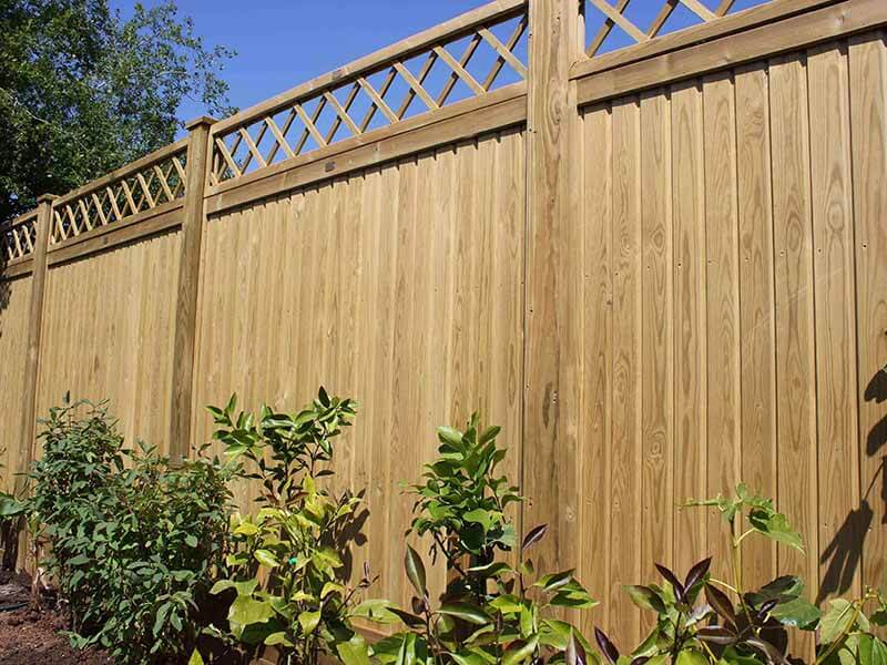 Tongue and Groove effect fence panels with trellis