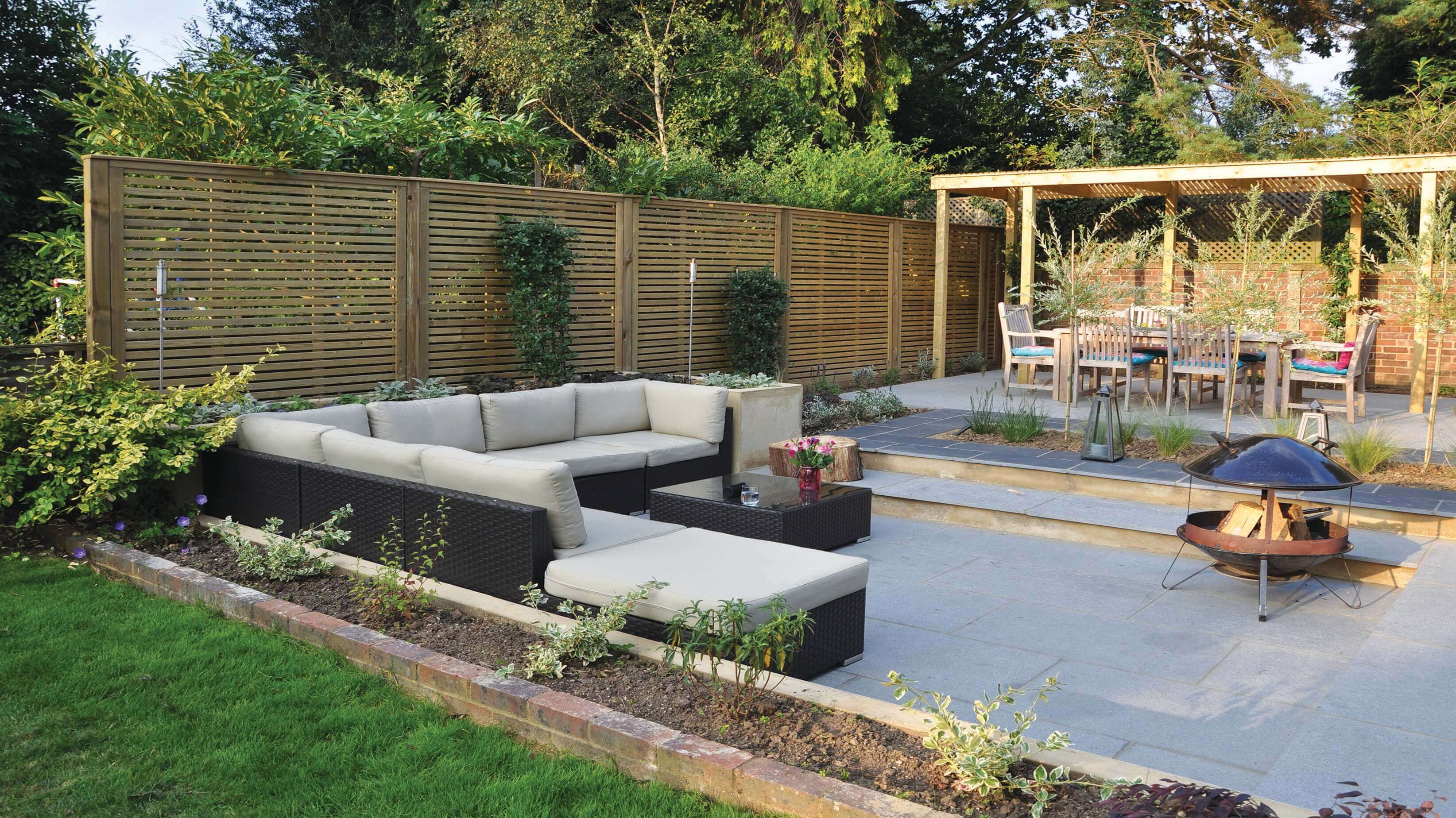 Stylish timber fencing in garden