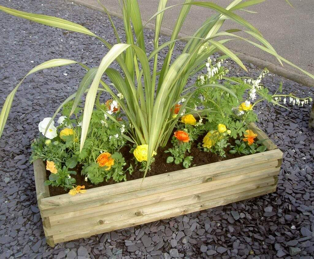 Large wooden flower planter