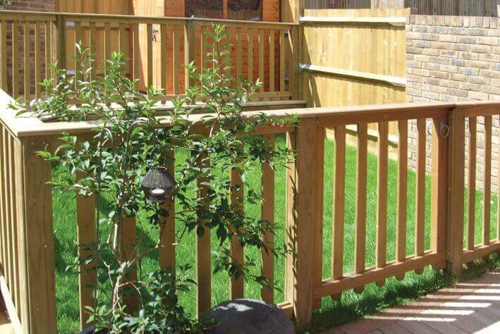 Decking boards joists and balustrade jacksons fencing for Sustainable decking