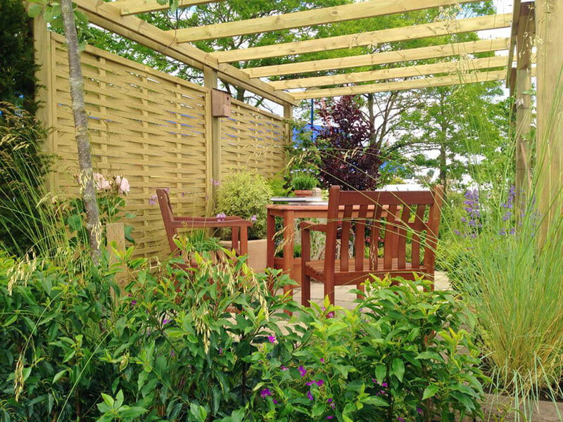 Build outdoor rooms for dining and entertaining