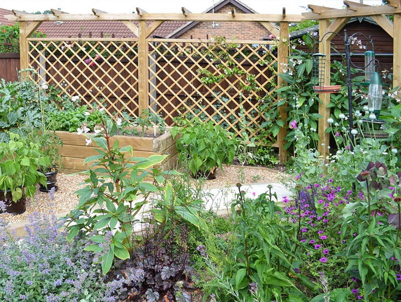 Combine pergolas with trellis to provide support for climbing plants